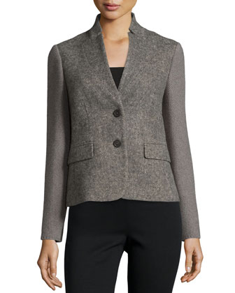 Mixed-Media Two-Button Jacket