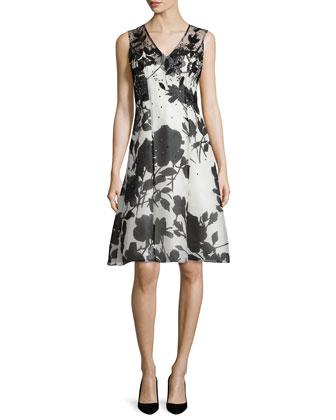 Embellished Floral-Print Dress, White/Black