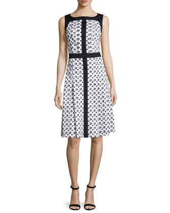 Sleeveless Two-Tone Printed Dress, Black/White