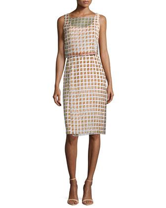 Sleeveless Geometric-Print Dress, Sienna Clay/Ivory