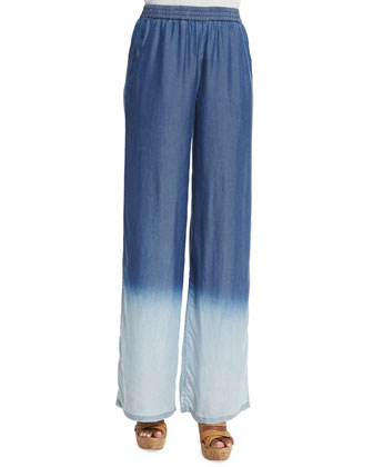 Midnight Blues Long Tunic with Fringe & Daybreak Ombre Wide-Leg Pants, ...