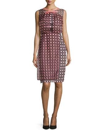 Sleeveless Geometric-Print Dress, Smoky Umber Multi
