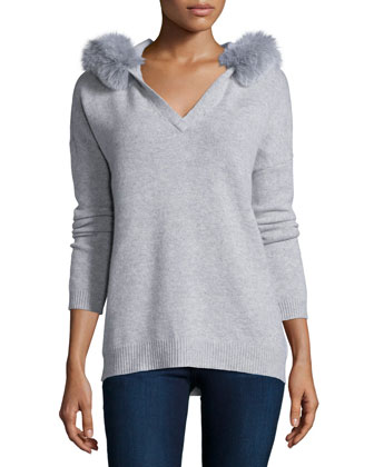 Hooded Fox-Fur Trim Cashmere Sweater