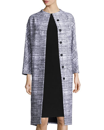Long-Sleeve Snap-Front Coat, Black/White