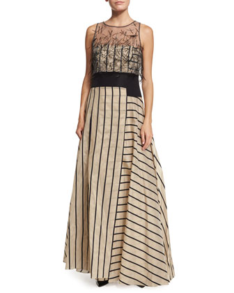 Sleeveless Fil Coupe Striped Gown, Black/Beige