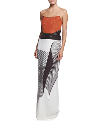 Spiral-Print Strapless Cady Gown, Smoky Umber/Ivory