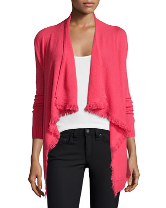 Cashmere Cardigan with Fringe Trim