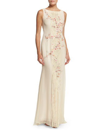 Sleeveless Floral-Embellished Gown, Shell Pink