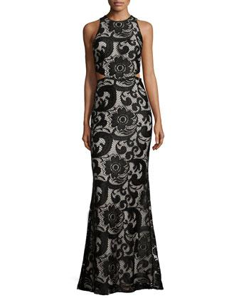 Adele Lace Cut-Out Dress, Black