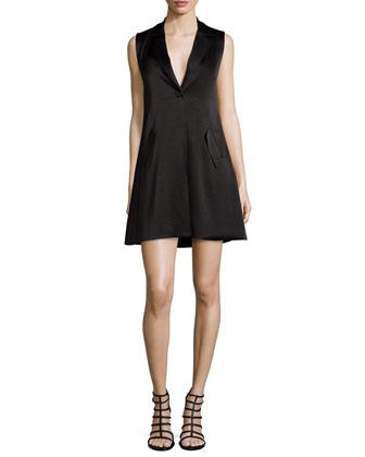 Indiana Cross-Front Tuxedo Dress, Black