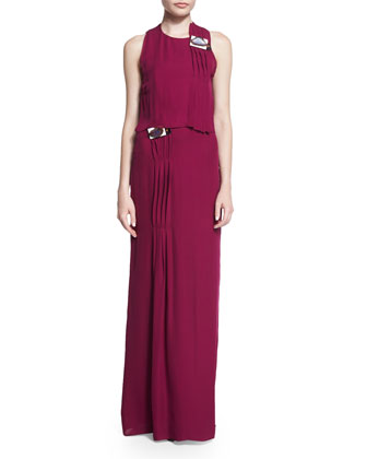 Sleeveless Pleated Column Gown, Orchid