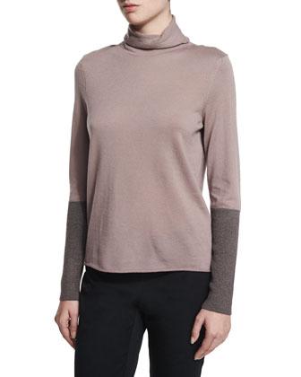 Colorblock Long-Sleeve Turtleneck Sweater