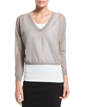 Two-Piece Sweater Set & Mid-Rise Ponte Pencil Skirt