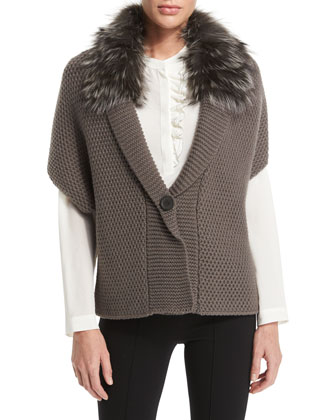 Popcorn-Knit Fur-Collar Sweater, Long-Sleeve Ruffle-Front Top & Mid-Rise ...