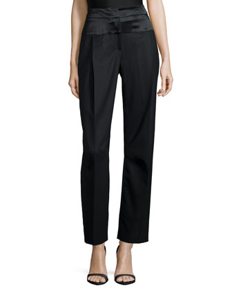 High-Waist Ankle Pants, Black