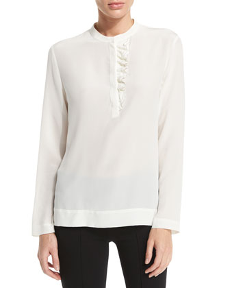 Long-Sleeve Ruffle-Front Top, Ivory