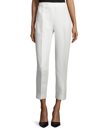 Slim-Leg Cropped Pants, Ivory