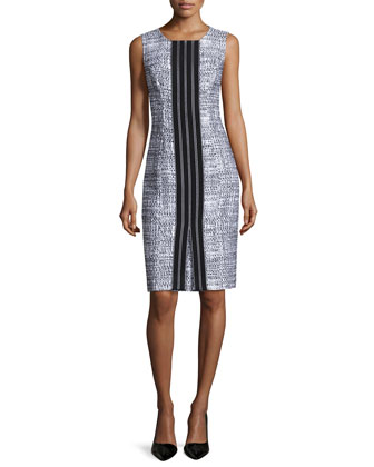 Sleeveless Combo Sheath Dress, Black/White