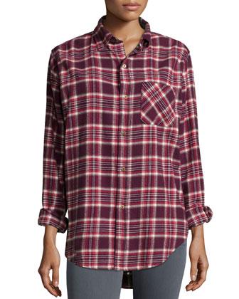The Prep School Shirt, Cranberry Plaid