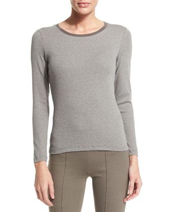Oversized Sleeveless Jewel-Neck Sweater, Long-Sleeve Round-Neck T-Shirt & ...