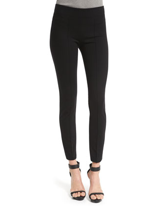 Mid-Rise Seamed Leggings, Black