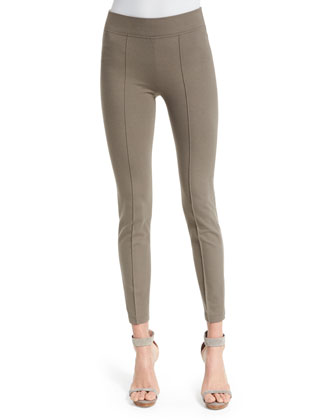 Mid-Rise Seamed Leggings, Taupe