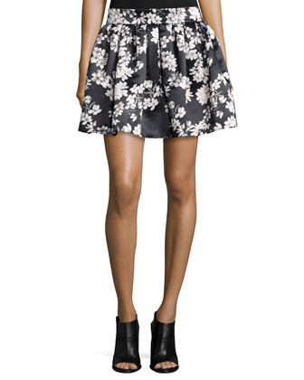 Fizer Southern Blossom Pleated A-Line Skirt, Black/White