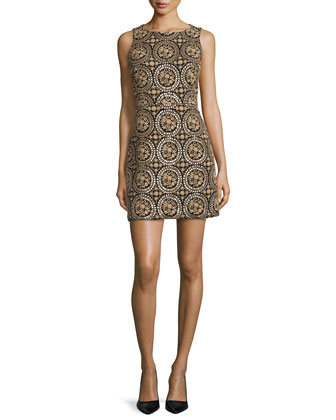 Whela Sleeveless Medallion Sheath Dress, Black