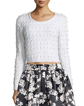 Ora Cropped Wool Cardigan Sweater & Fizer Southern Blossom Pleated A-Line ...