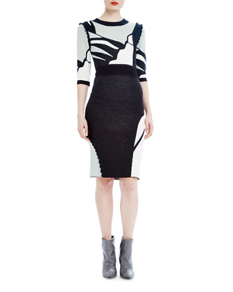 3/4-Sleeve Intarsia Body-Conscious Dress