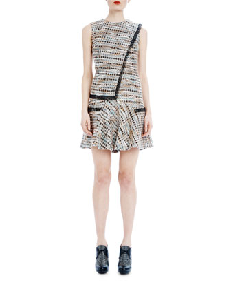 Ellery Fringed Tweed Shift Dress, Tourmaline Blue