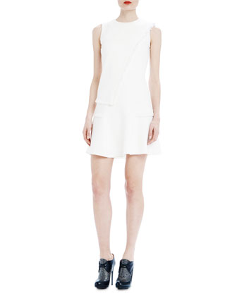 Ellery Fringed Wool Shift Dress, Quartz White