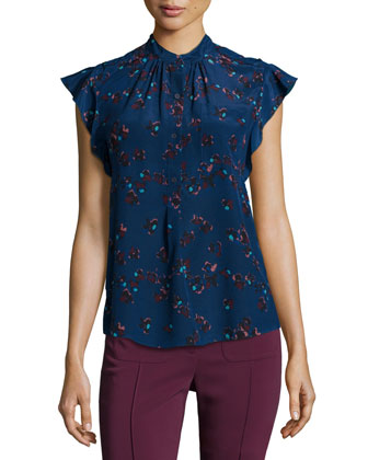 Silk Flutter-Sleeve Floral Top, Galaxy Night