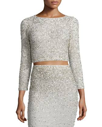 Lacey Embellished Bracelet-Sleeve Crop Top, Cream