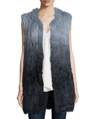 Fadri Blithe Ombre Rabbit Fur Vest & Meighlan Classic Silk Top