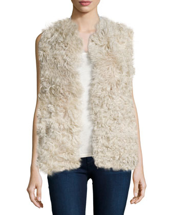 Shearling Vest with Knit Back