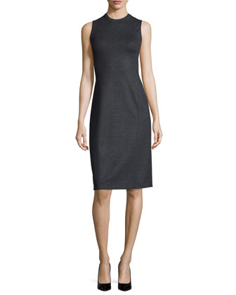 Gevel Sleeveless Sheath Dress, Dark Charcoal