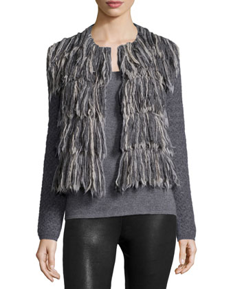 Long-Sleeve Fringe-Front Jacket
