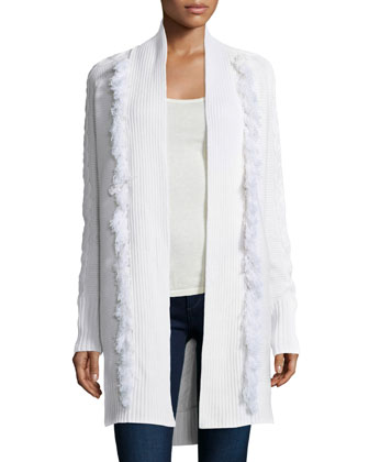 Cable-Knit Duster W/ Fringe Trim, Ivory