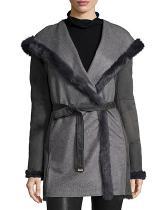Cashmere & Shearling Fur Parka, Grigio/Asphalto