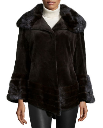 Sheared Mink Fur Jacket, Brown