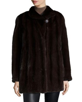 Reversible Mink Fur Stroller Coat, Sommelier