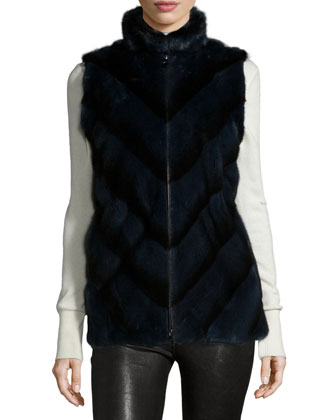 Mink Fur Chevron Zip Vest, Black Iris