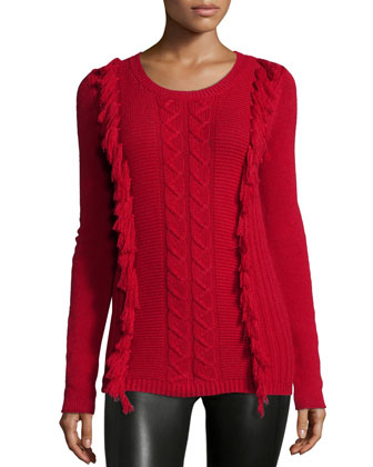 Cable-Knit Fringe-Front Cashmere Sweater
