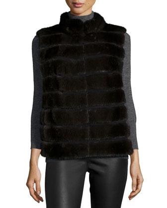 Horizontal-Mink Fur Vest, Petrol Gray