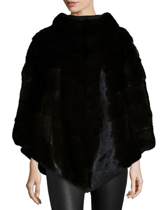 Mink Fur Asymmetric Poncho, Black