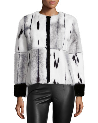 Mixed-Media Mink Fur Jacket, Black/White