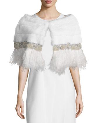 Adler Mink Fur Capelet W/Feather Trim, White