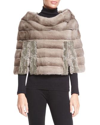 Barnsdale Mink Fur Capelet W/Crystal Trim, Gray