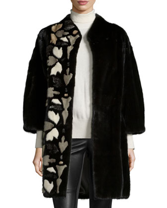 Mink Fur Coat W/Intarsia Detail, Black
